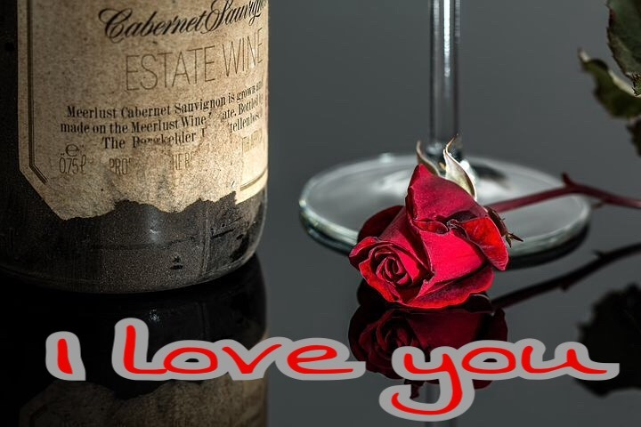 I love you image with red rose for lover
