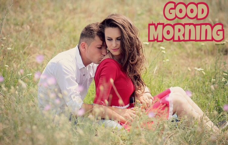 Good morning couple kiss image