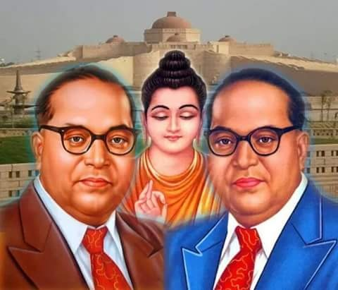 BabaSaheb Ambedkar Wallpapering With Lord Buddha