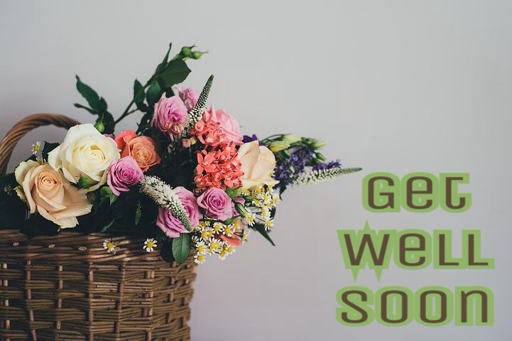 Get well soon images with flowers basket