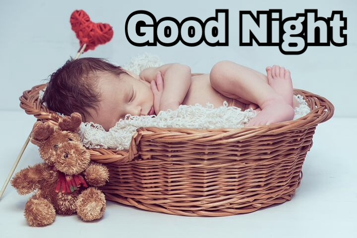 Cute good night wishes with beautiful baby