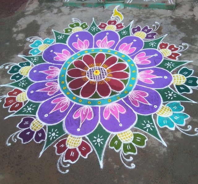 rangoli drawing pictures with colours