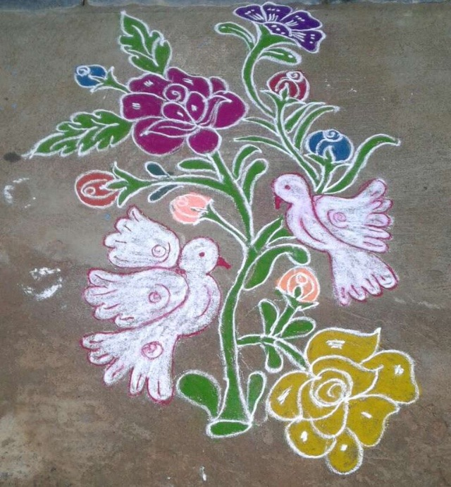 rangoli of flowers and leaves