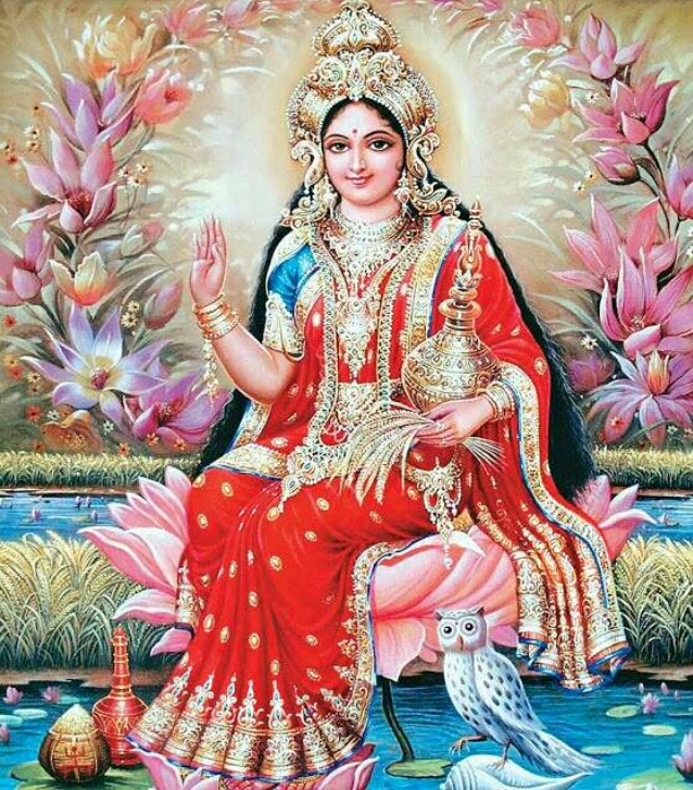 picture of goddess lakshmi with owl