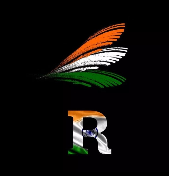 r letter in indian flag colour