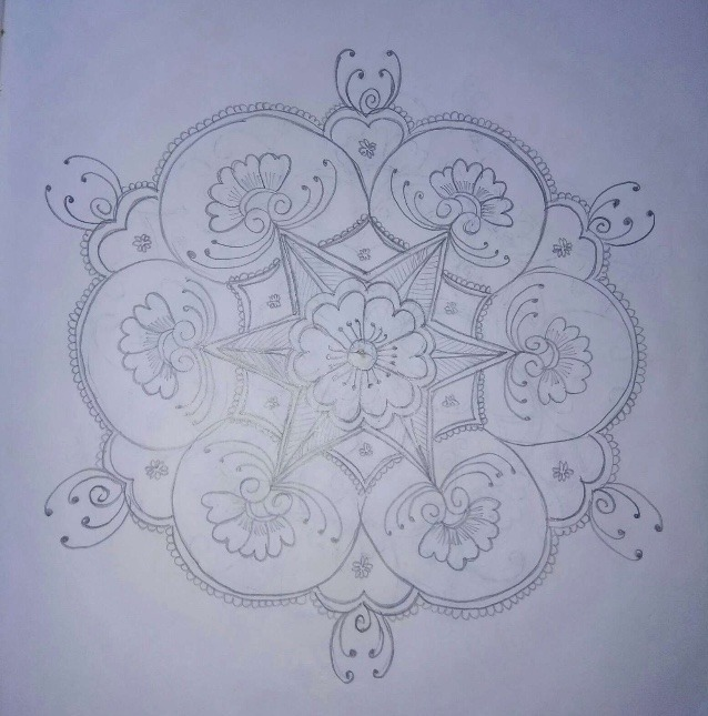 easy rangoli drawing on paper